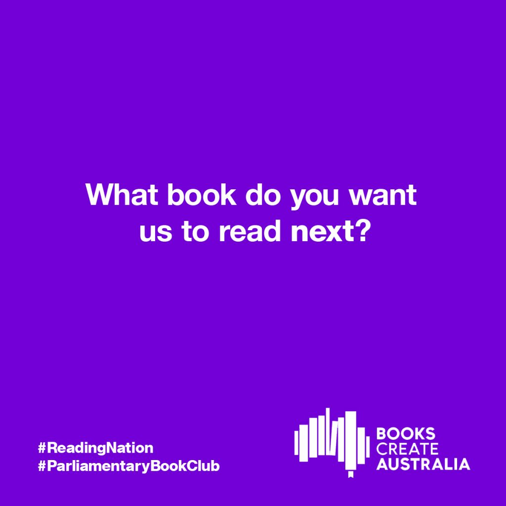 "The Books Create Australia logo with ""What book do you want us to read next?"""