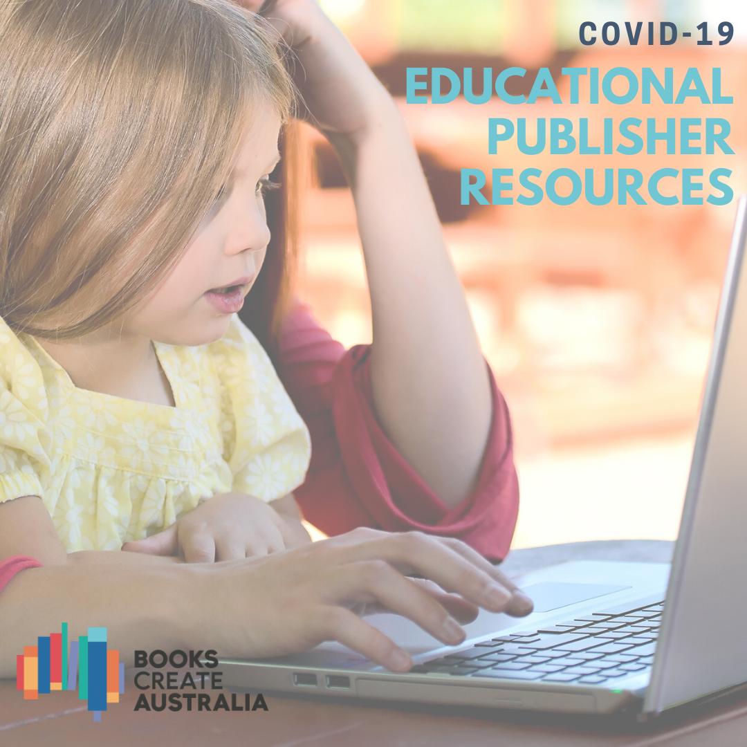 Picture of young girl looking at laptop with woman's hands on keyboard, with text COVID-19 Educational Publishers Resources
