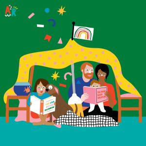 Illustration of a family reading inside under a tent made of sheets