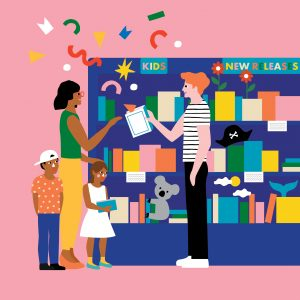 Illustration of a family and a koala being recommended books by a bookseller in front of bookshelves